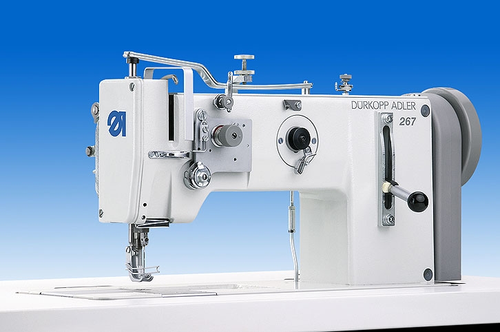 Single needle lockstitch machine with bottom feed, needle feed and alternating feet