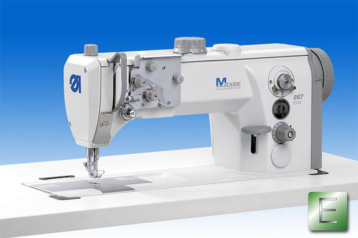 Single-needle lockstitch flat bed machine with bottom feed, needle feed  and alternating feet and a maximum stitch length of 12 mm