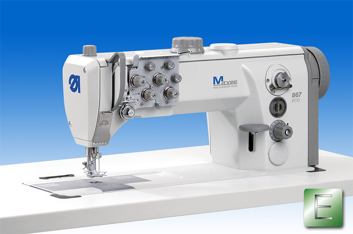 Twin needle lockstitch machine with bottom feed, needle feed and alternating feet, with XXL-hook