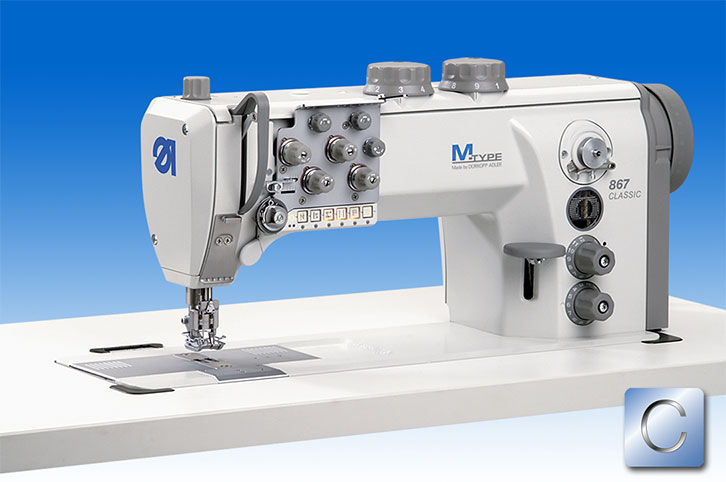 Twin needle lockstitch machine with DA Direct Drive