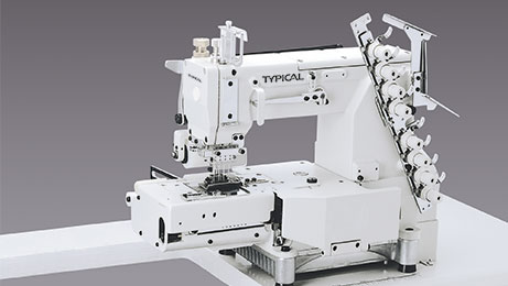 Multi-needle chainstitch machine for inserting elastic rings into the waists of tubular goods