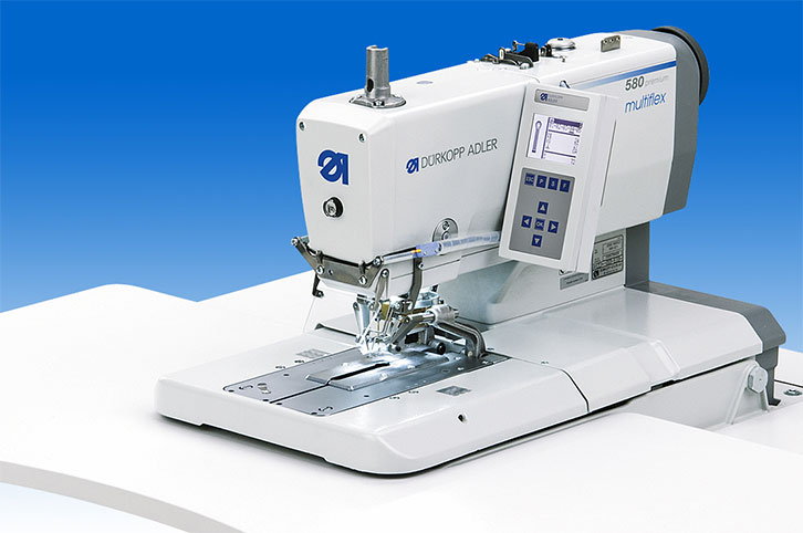 Automatic 2-thread chainstitch eyelet buttonholer with innovative Multiflex cutting system