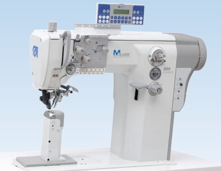 Single needle lockstitch post-bed machine with DA Direct Drive, wheel feed