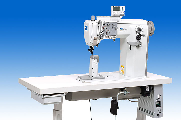 Twin needle lockstitch post-bed machine with DA Direct Drive, wheel feed