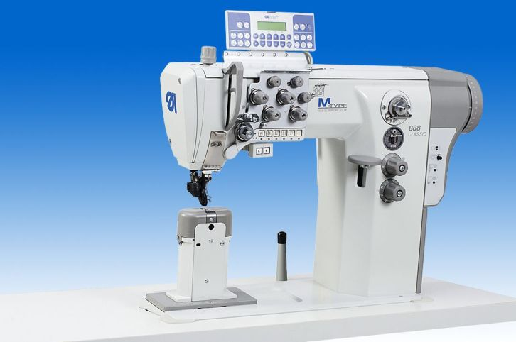 Twin needle lockstitch post-bed machine with DA Direct Drive with switchable needle bars