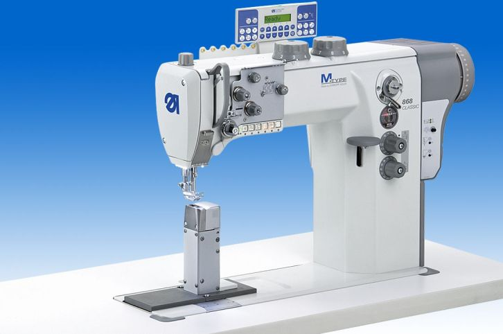 Single needle lockstitch post bed machine (right post) with DA Direct Drive