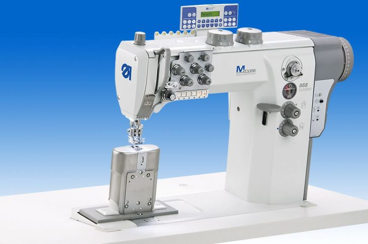 Twin needle lockstitch post bed machine with DA Direct Drive