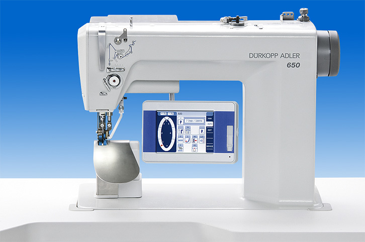 Oil free single needle lockstitch post-bed machine for programmed or manual setting of sleeves